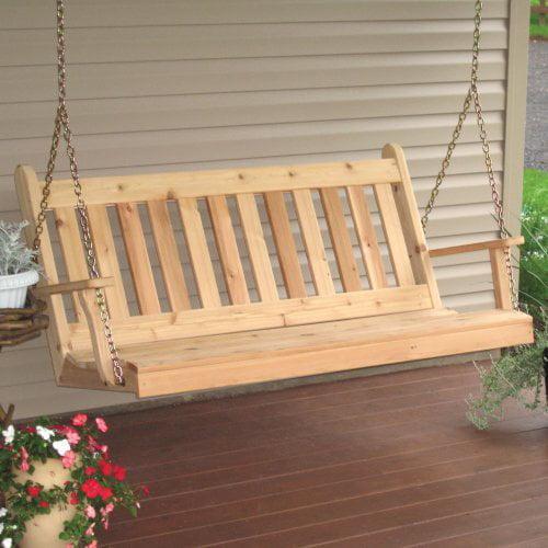 A & L Furniture Traditional English Western Red Cedar Porch Swing