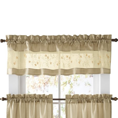 Excellent Embroidered Vines Fairfield Rod Pocket Kitchen Cafe Curtain Valance Taupe Home Interior And Landscaping Palasignezvosmurscom