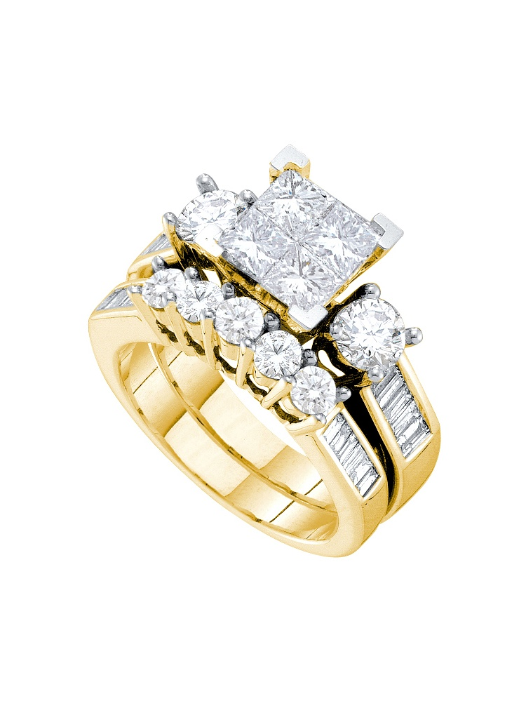 14k Yellow Gold Natural Princess Invisible-set Diamond Womens Wedding Bridal Ring Set (3.00 cttw.) size- 8.5 by