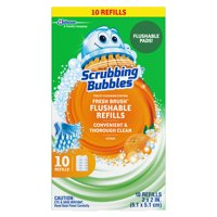 Scrubbing Bubbles Fresh Brush Toilet Cleaning System, Flushable Refill, 10 ct