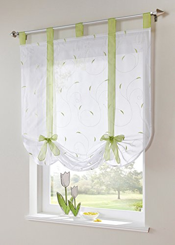 uphome 1pc adorable bowknot embroidered floral tieup roman curtain tab top sheer kitchen