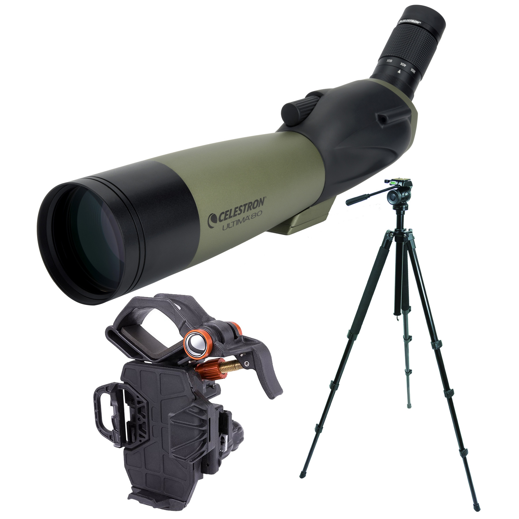 Celestron Ultima 80mm Spotting Scope (Angled) with TrailSeeker and NeXYZ Adapter