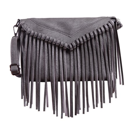 HDE Leather Envelope Fringe Shoulder Bag Tassel Crossbody Handbag Women's Purse -