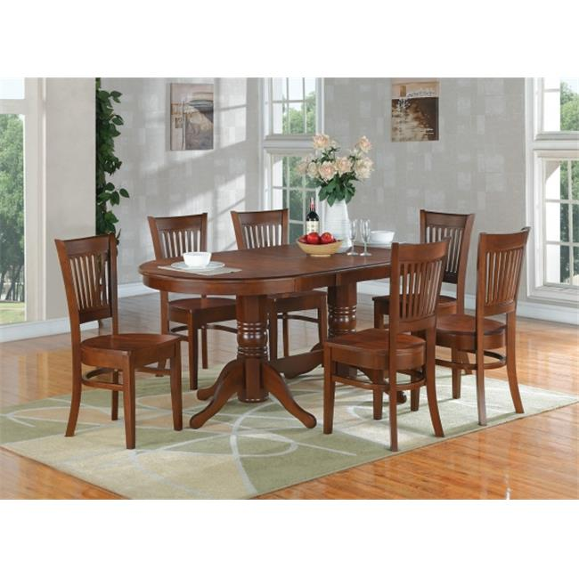 East West Furniture VANC7-ESP-W Vancouver 7PC set with double pedestal oval featured 17 inch butterfly leaf and 6 wood
