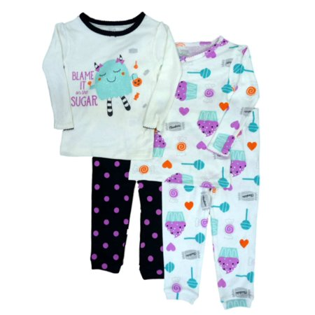Carters Infant Toddler Girl 4 PC Blame It On The Sugar Halloween Pajama 2 PK (Jimmy Carter Halloween)