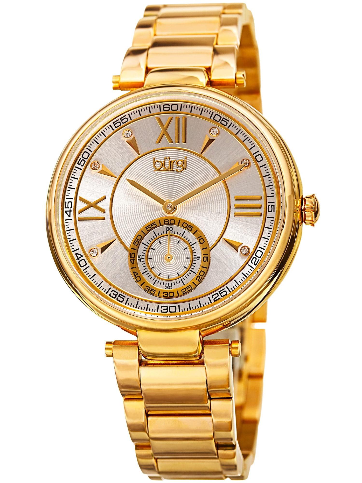 Women's Swarovski Crystal Classic Gold-Tone Stainless Steel Bracelet Watch with FREE Bangle