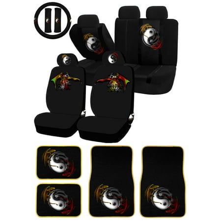 26PC Yin Yang red yellow Dragons Universal Seat Covers & Carpet Floor Mat Set Car Truck (Car Mats That Cover The Whole Floor)