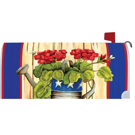 Patriotic Geraniums in Watering Can Magnetic Mailbox Cover Wrap
