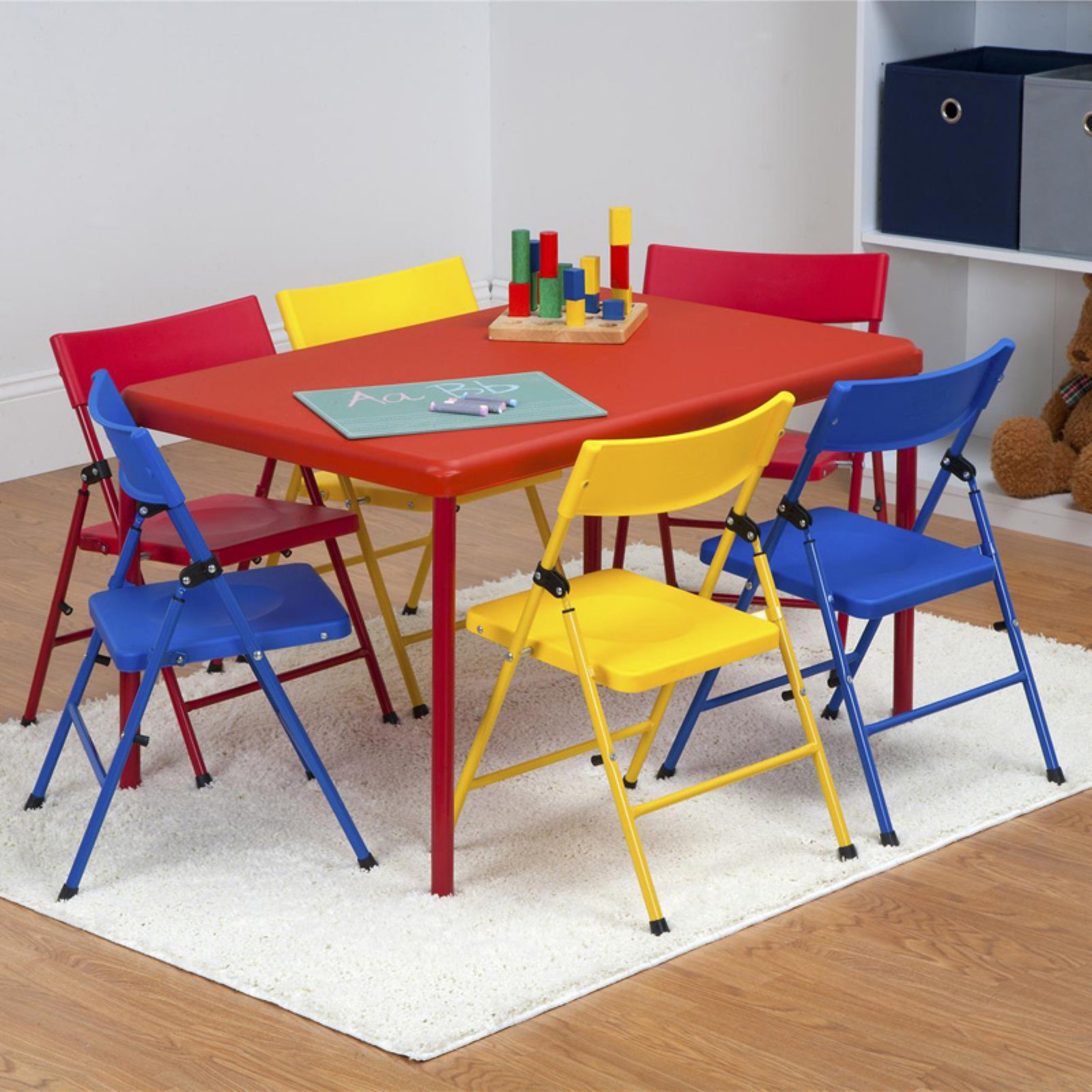 Safety First 7-Piece Kid's Set with Pinch-Free Folding Chairs and Screw-In Legs Table