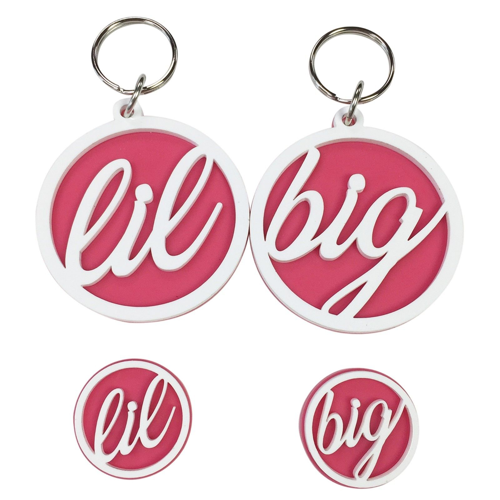 Big & Little Sister 4-Pack Sorority Plastic Pin & Keychain (White on Pink)
