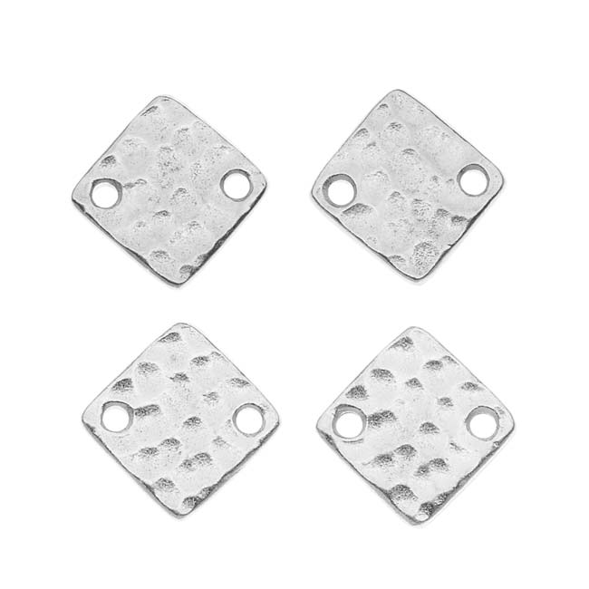 Rhodium Plated Pewter 12mm Hammered Square Connectors (4)