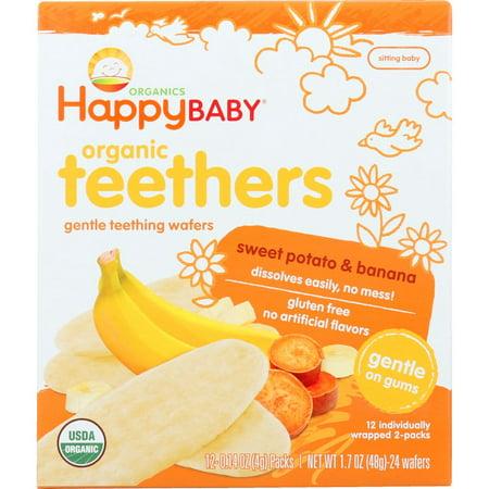 Miyim Organic Teether - Happy Baby Teething Wafers, Gentle, Organic Teethers, Sweet Potato & Banana, 1.7 Oz (Pack Of 6)