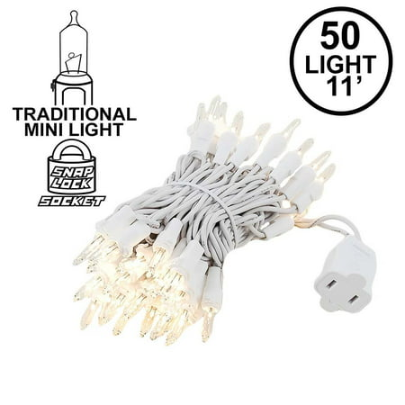 Novelty Lights 50 Light Christmas Mini Light Set, White Wire, 11