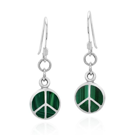 Malachite White Earrings (Sleek Peace Symbol Green Malachite Stone Sterling Silver Dangle Earrings)