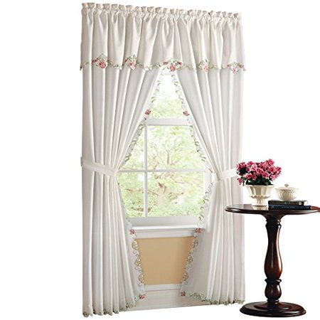 Collections Etc Embroidered Floral Rose Valance & Curtain Set Rose Window Valance