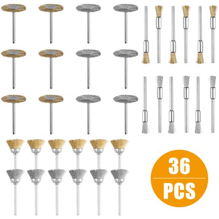 - 36pcs Wire Steel Brass Brushes Polishing Brush Wheels Set for Dremel Rotary Tool,6 x Copper/Stainless steel wire wheel brush,12 x Copper/ Stainless steel wire brush