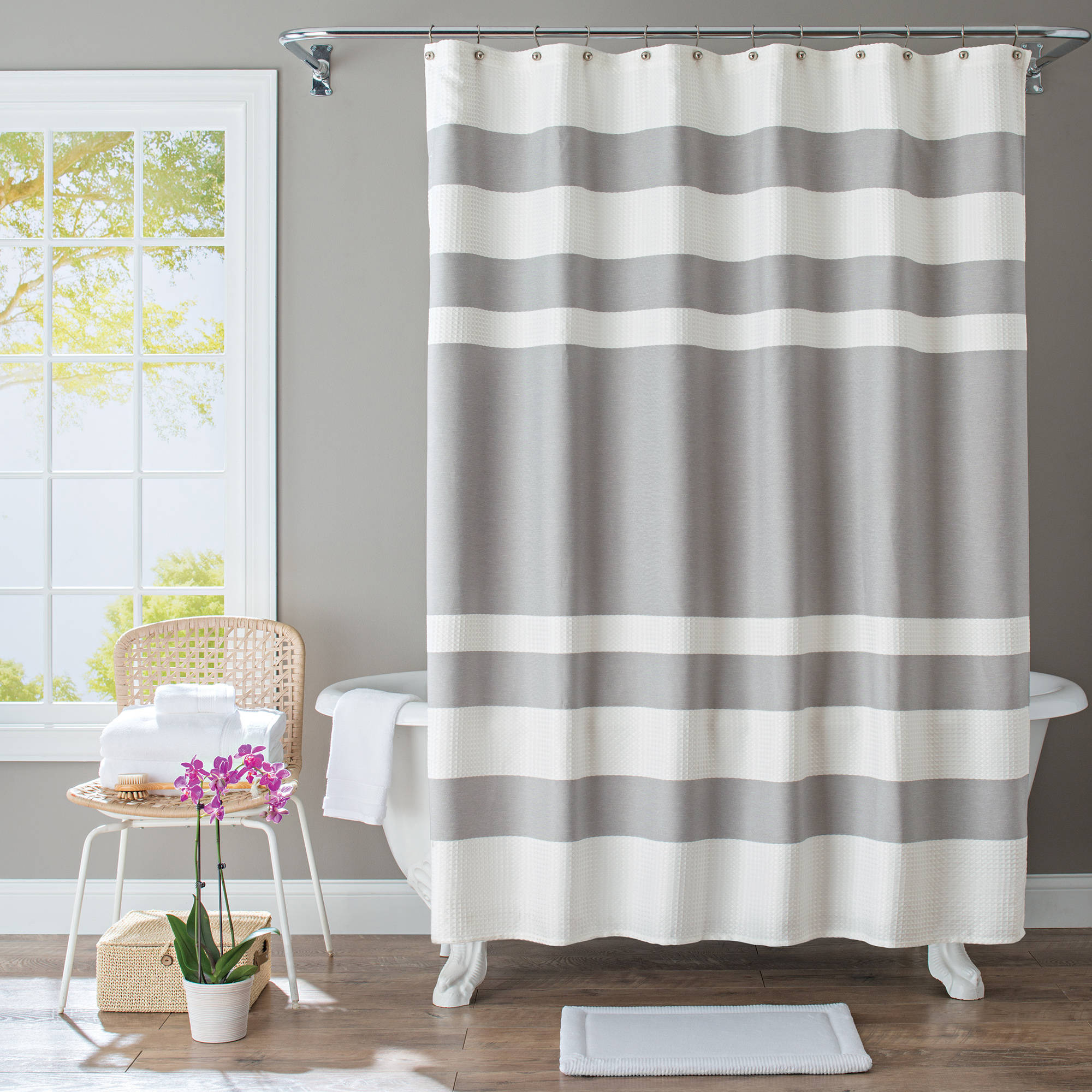 Marvelous Better Homes And Gardens Waffle Stripe Fabric Shower Curtain