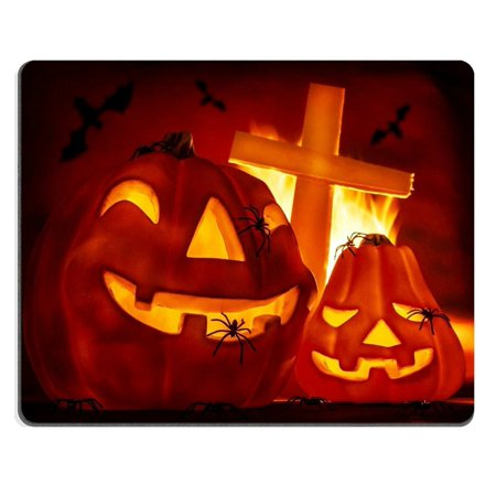 - POPCreation Glowing carved gourd in the hell burning fire creepy cross on grave terrible flying bat misterious Mouse pads Gaming Mouse Pad 9.84x7.87 inches