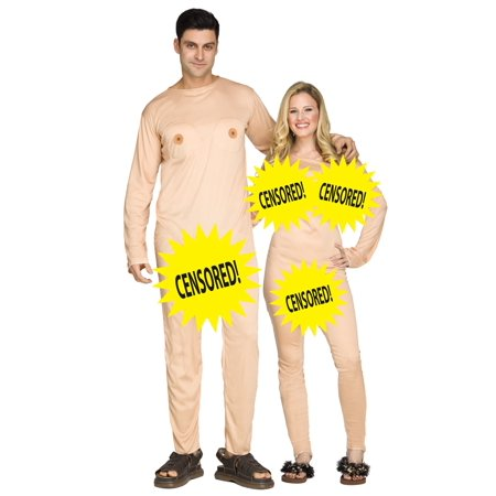 Adult Couples Nudist Nudists 2- Jumpsuits Halloween Mens Womens Costume