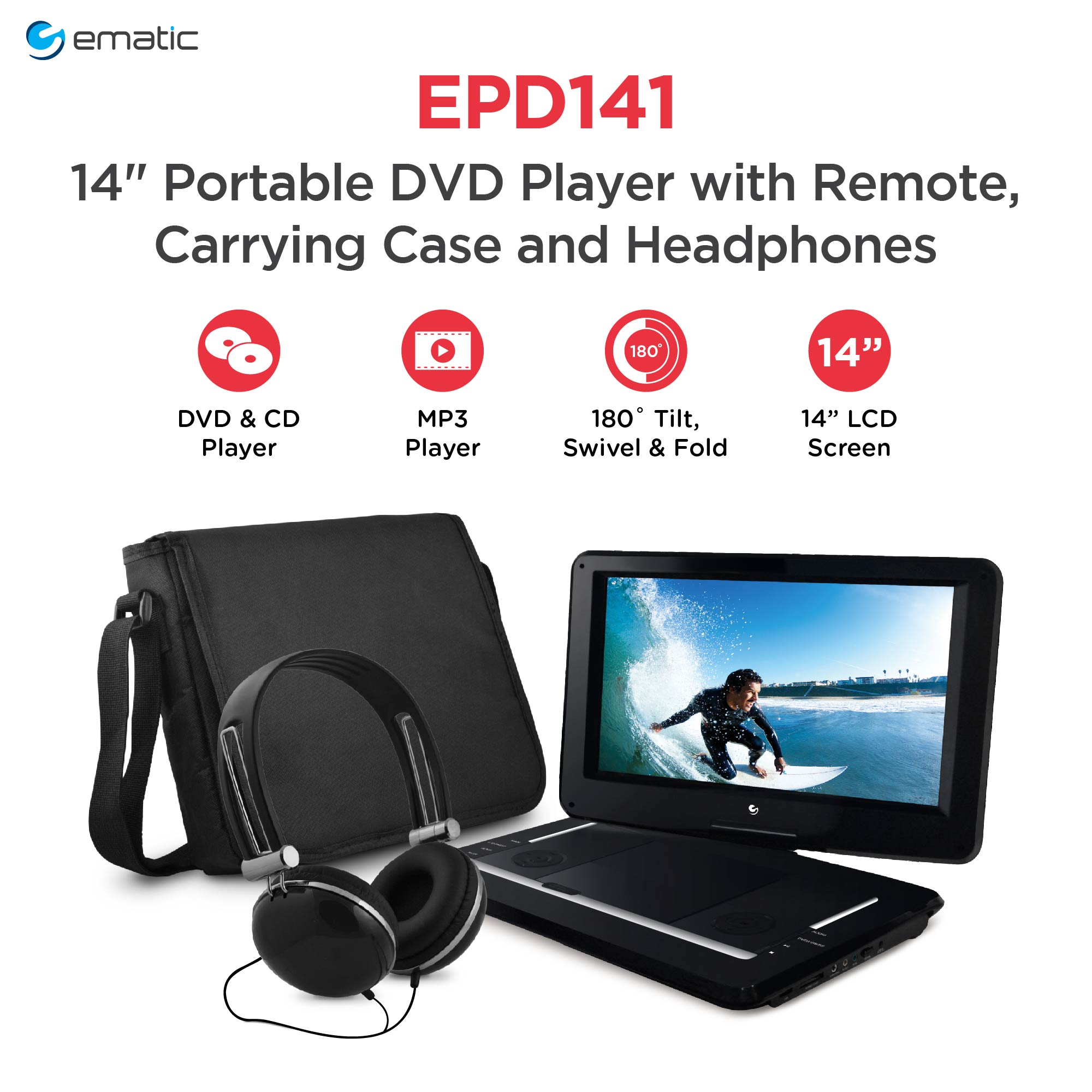 """Ematic 14"""" Portable DVD Player with Remote, Carrying Case and Headphones"""