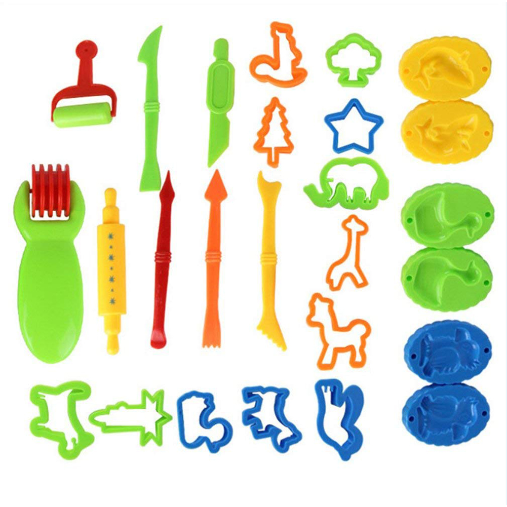26 Pcs/set Kids DIY Clay Tool Dough Play Tools Cutters Various Shapes Include of Cutters Models Animal Molds Rolling Pin Color:26pcs
