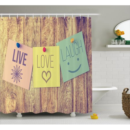Live Laugh Love Shower Curtain Inspirational Wisdom Post It Perks On Wooden Board Rustic