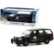 Greenlight 86184 2010 Chevrolet Tahoe Black with White Hood Texas Highway Patrol State Trooper 1 by 43 Diecast Model Car