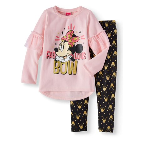 Fleece Ruffled Sleeve Graphic Tunic & Legging, 2-Piece Outfit Set (Little Girls)