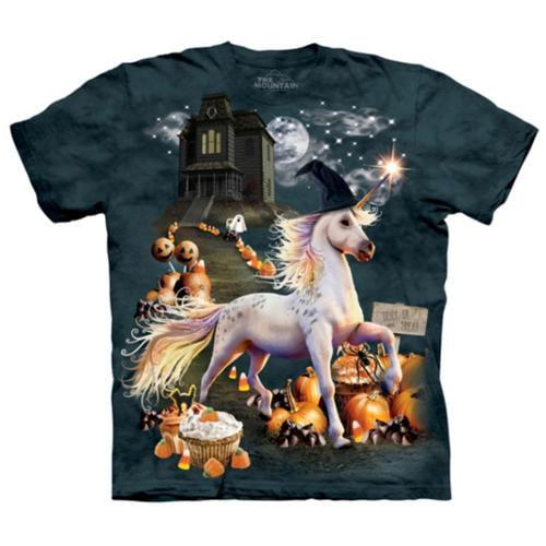 The Mountain Kids Green 100% Cotton Halloween Unicorn Novelty T-Shirt (XL)