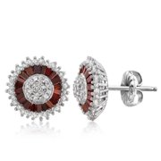 JewelonFire  Sterling Silver 1ct TDW Red and White Diamond Earrings