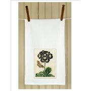"Set of 3 Botanical Purple Primrose Print White Flour Sack Kitchen Hand Towels 29"""