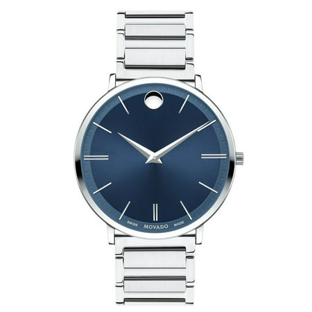 Ultra Slim Swiss Blue Dial Silver Tone Men