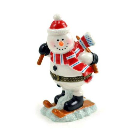 Snowman Hinged Box (Winter Wonderland Snow Skiing Snowman Porcelain Hinged Trinket Box)