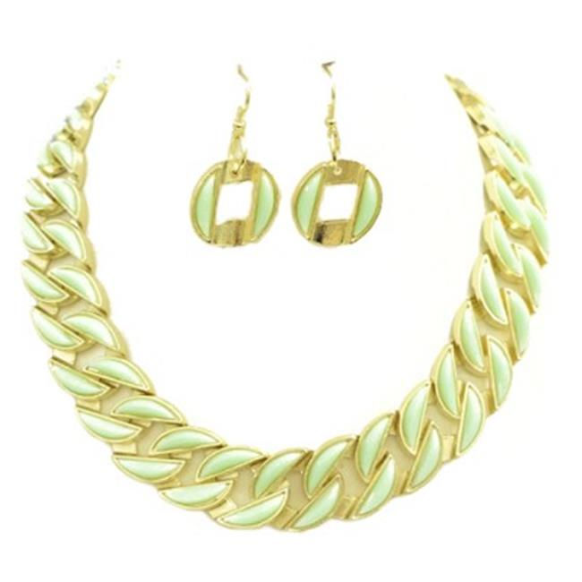 C Jewelry Chevron Style Mint Enamel Gold Necklace And Earrings Set