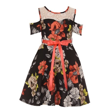 Little Girl Cold Shoulder Lace Floral Summer Birthday Flower Girl Dress Black 4 JKS 2123 BNY