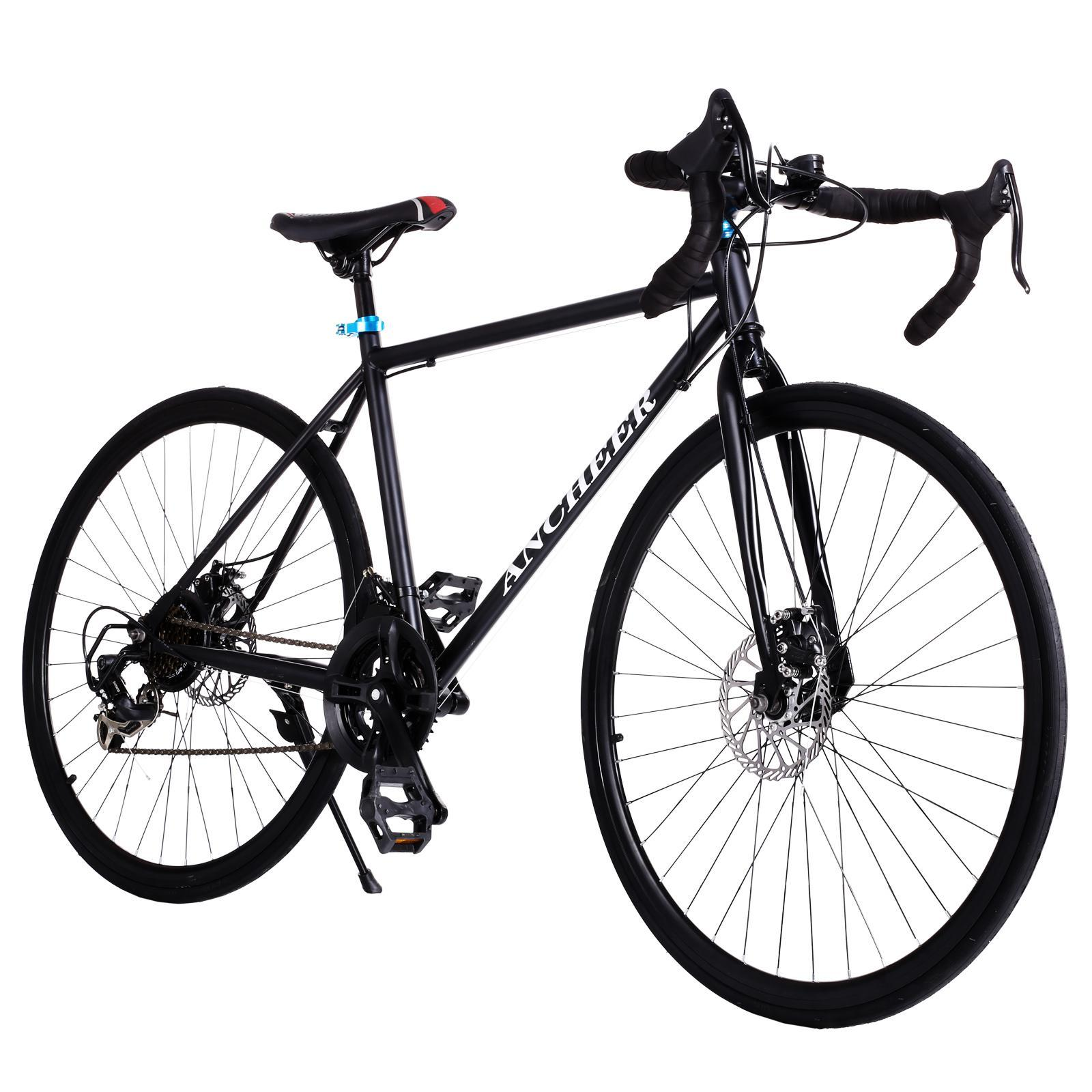 Dailydeal Adult Teen Racing Bike, Fashion 700C Aluminum 21 Speed Road/Commuter Bike Racing Bicycle Black
