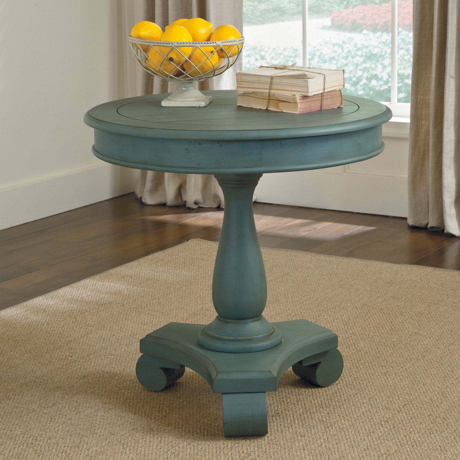 Signature Design By Ashley Cottage Accents Blue Round Accent Table    Walmart.com