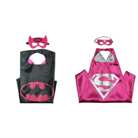 Supergirl & Batgirl Costumes - 2 Capes, 2 Masks with Gift Box by Superheroes