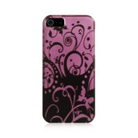 Insten Swirl Hard Snap On Back Protective Case Cover for Apple iphoness 5 / 5S / SE - Black/Purple