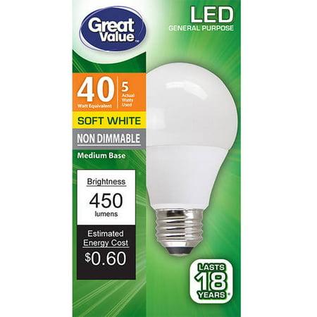 Great Value Led Light Bulb 5w 40w Equivalent Soft White