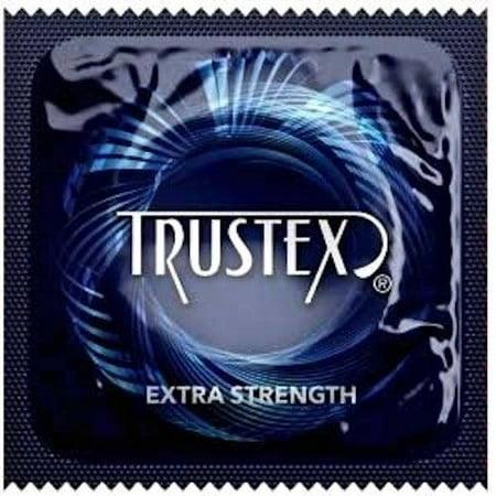 Extra Strength Condoms (Trustex Extra Strength + Brass Pocket Case, Thicker, Stronger Lubricated Latex Condoms-24)
