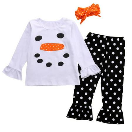 Cute Kids Girls Christmas Snowman Tops Dot Long Pants Outfits Set Clothes ()