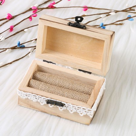 Personalized Retro Wedding Ring Box Holder Shabby Chic Rustic Wooden Bearer Box