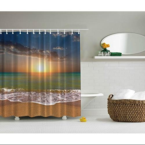 Sunset Beach Ocean Water Shower Curtain - Mildew resistant - W/ Shower Hooks
