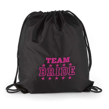 Team Bride Black Cinch Bag