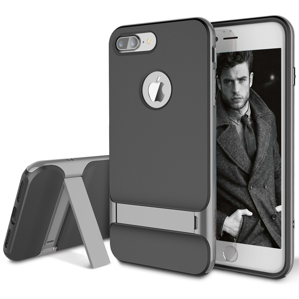 iPhone 7 Plus Case, ROCK [Royce Stand] - Black & Iron Grey [Ultra Thin][Kickstand][Metal Texture Side Buttons][Dual Layered][Slim Fit][Hard PC + Soft TPU] For Apple iPhone 7 Plus (2016)