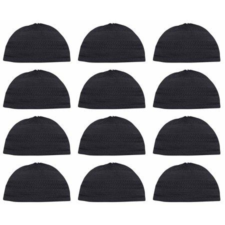 Lot of 12 - TheKufi® Black Cotton Stretch-Knit Kufi Hat Skull Cap -  Comfortable Fit - Unique Design - Walmart.com e11b66d91368