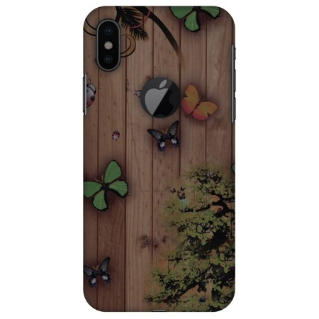 iPhone X Designer Case, Premium Handcrafted Printed Designer Hard ShockProof Case Back Cover for Apple iPhone X - Bonsai Butterfly, Thin, Light Weight, HD Colour, Apple Logo Cut](Apple Cut)