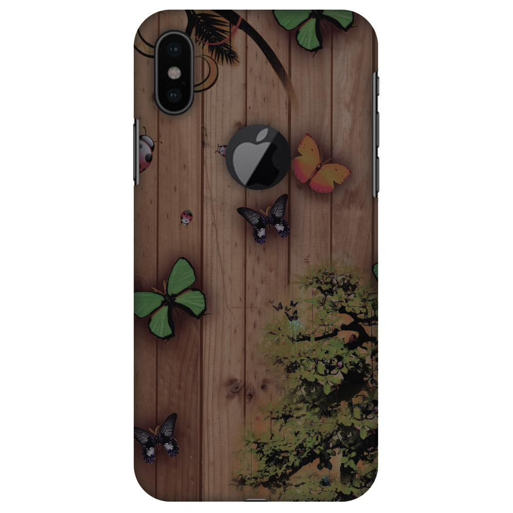 iPhone X Designer Case, Premium Handcrafted Printed Designer Hard ShockProof Case Back Cover for Apple iPhone X - Bonsai Butterfly, Thin, Light Weight, HD Colour, Apple Logo Cut