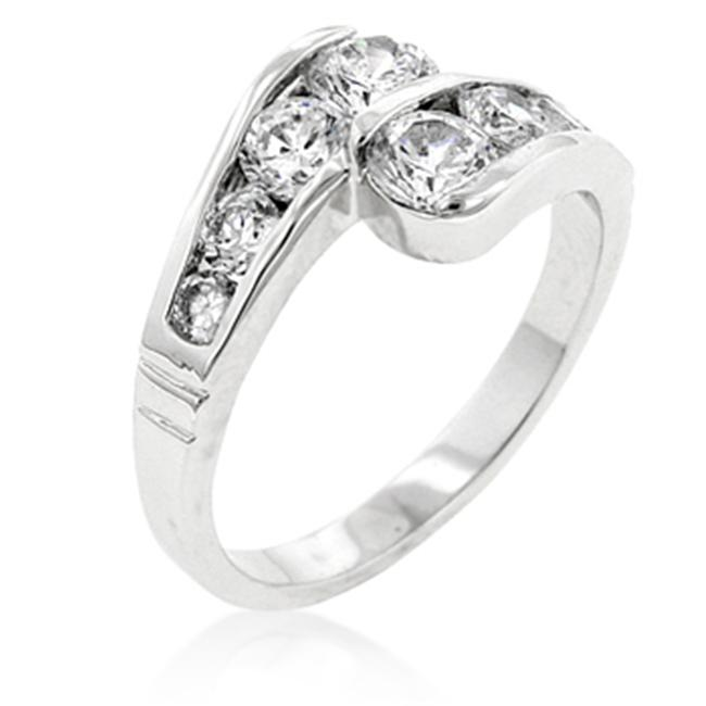 Kate Bissett R08090R-C01-06 Genuine Rhodium Plated Anniversary Ring with Channel Set Clear CZ in Silvertone - Size 6
